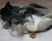 Silk scarf / necklace  - Smoke