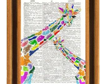 Giraffe nursery Print, Dictionary paper Print, decorative art illustration, fantasy Giraffe poster, nursery art, kid play room wall decor