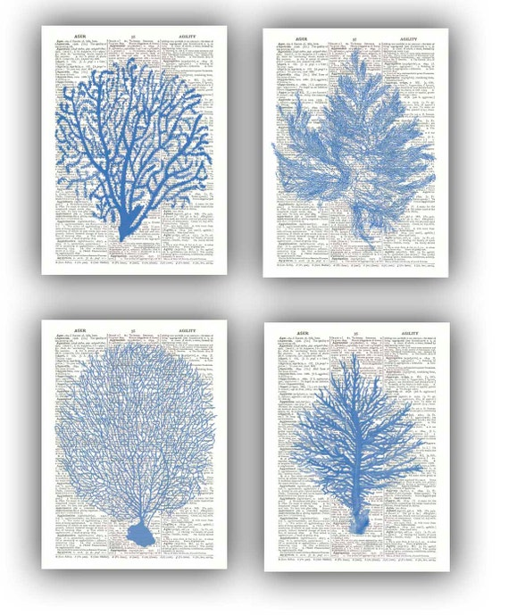 Seafan ocean blue prints sea fan sea grass coral nautical for Blue bathroom wall decor