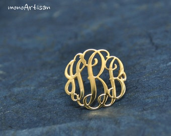 Monogram Pin- Custom personalized silver & gold-plated(vermeil) for Wedding gift