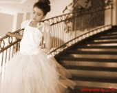 Vintage ivory/Beige handmade flower girl Lace tutu dress/ Great for weddings or photoshoots
