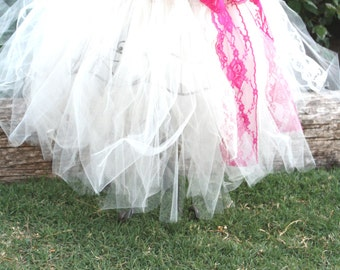 Eva's tea party ivory and lace tutu skirt for weddings,flower girls,photoprop,birthday