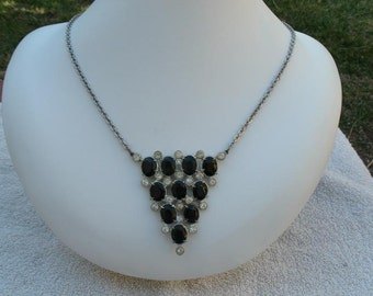 Vintage Black Rhinestone Pendant  Necklace - Silvertone Chain - Inverted Triangle Shaped RS Pendant Necklace