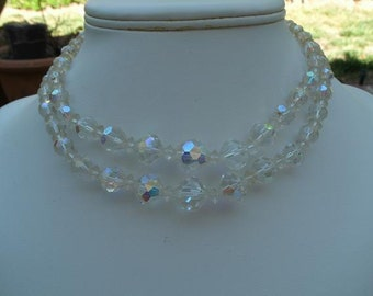 Vintage Laguna Clear Crystal Aurora Borealis Neckace - Two Strands of AB Crystal Beads