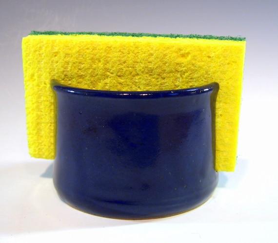 Pottery Sponge Holder, Ceramic Sponge Tray, Dark Cobalt Blue