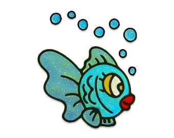 Fish - baby shower sticker -  handmade sticker home decor  stained glass clings window decoration kids room