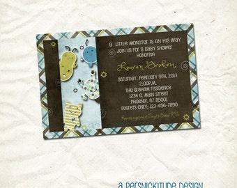 little monster baby boy shower invitation print yourself file