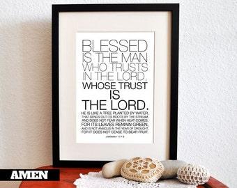 Jeremiah 17:7-8. He who Trusts. 8x10. PDF.  DIY Printable Christian Poster. Bible Verse.