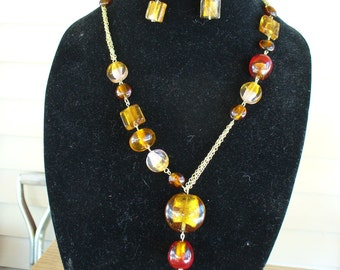 Necklace Brown and Gold