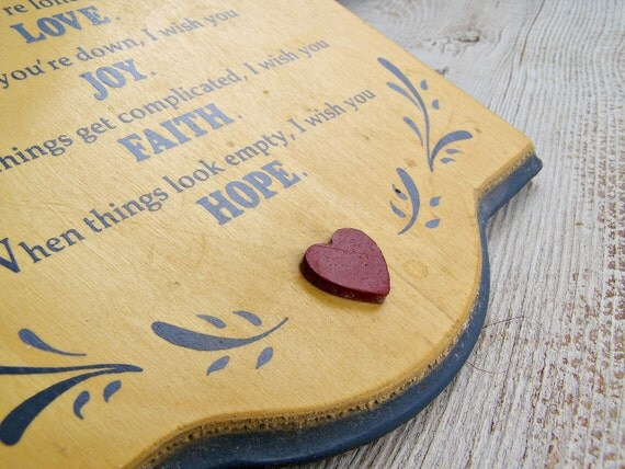 Love, Joy, Faith, Hope,  Retro nursery sign, Vintage yellow blessing sign for kids room, Mothers day gifts