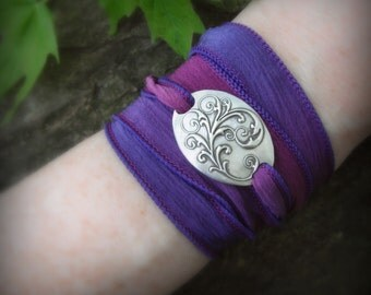 Ribbon Bracelet- Victorian Flourish- Yoga Jewelry- Silk Ribbon Bracelet- Artisan Handcrafted with Recycled Silver and Hand Dyed Silk