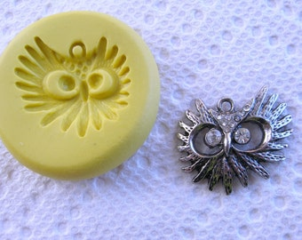 Owl head silicone mold for jewelry making, FIMO, Sculpey, wax, soap..