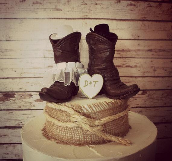 Country Western Wedding Cowboy Boots Wedding Cake Topper Western