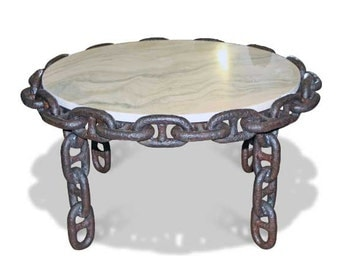 Round Salvaged Anchor Chain Table with Salvaged