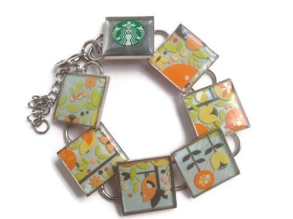 Resin Jewelry, Recycled jewelry, Starbucks Jewelry, custom bracelets, silver bracelets (Birds and Flowers)