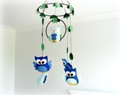 Woodland owl mobile - baby mobile - blue, green and brown - Nursery decor - MADE TO ORDER