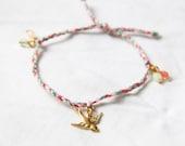 Lucky bracelet/ pink and mint beach bracelet/ swallow  charm bracelet/  braided string bracelet/ spring jewelry