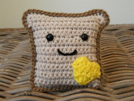 Crochet Amigurumi Smiley Faces : Mr Toast plush crochet amigurumi with cute by LottiesCreations