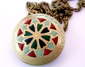 Locket pendant enamel necklace for mom jewelry handmade mosaic