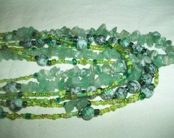 Awesome 6 Strand Green Beaded Necklace