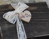 Ring Bearer Box We Do Personalized Bride & Groom Initials, Rustic Wedding
