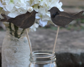 Love Birds Cake Toppers, Cupcake Toppers, Bride Groom Cake Toppers, Bridal Veil, Rustic Wedding