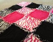Hot Pink and Black Zebra Baby Rag Quilt