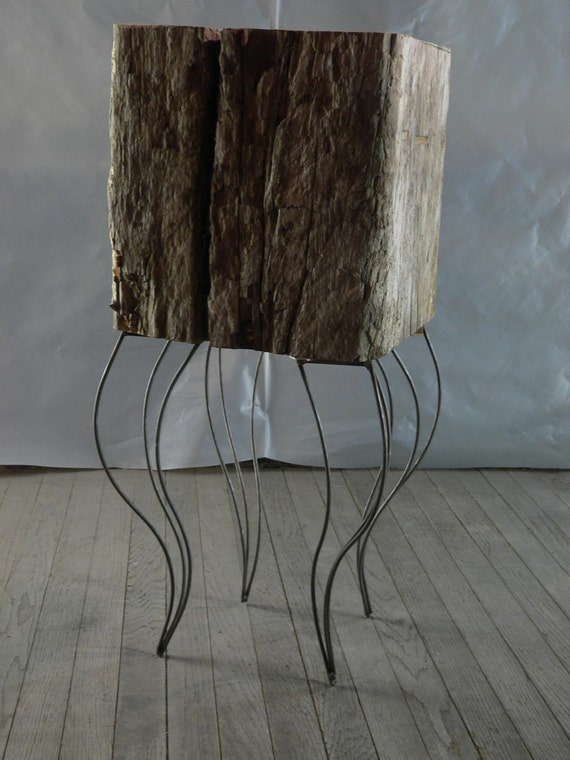Stool End Table Primitive Rustic