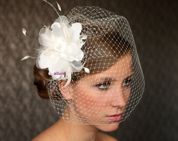 Items Similar To BIRD CAGE VEIL Wedding Hat Fabulous Headdress Bridal Amazing Hair Flower On Etsy