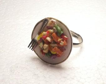 Pasta Salad Ring. Polymer Clay.