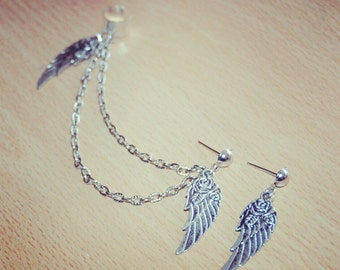 Silver Ear Cuff Feather Roses