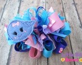 Pink, Purple, and Blue Girly Whale Feltie Boutique Funky Bow