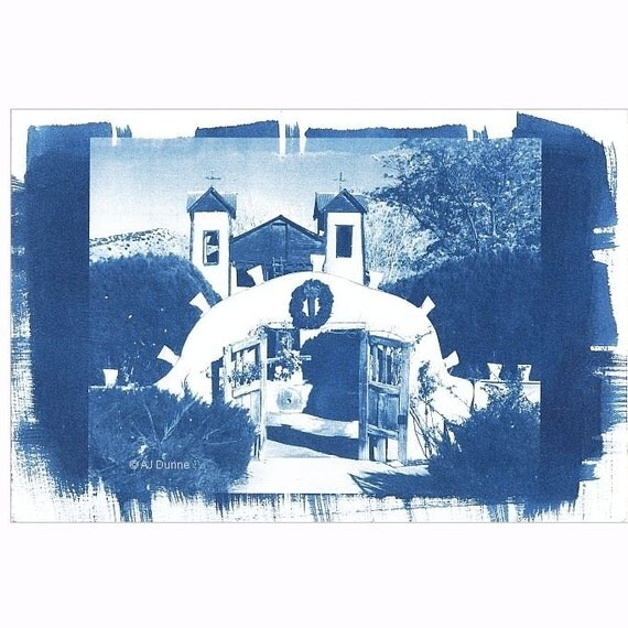 "El Santuario de Chimayó Old Adobe New Mexico Church at Christmas Cyanotype 6"" x 9"" Photo"