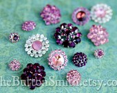Rhinestone Buttons Mix - Pink and Purple Collection -10 Piece Set