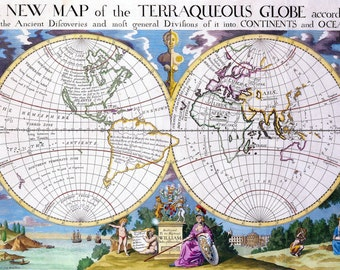 Old fashion map-Globe-Ancient Maps-continents and oceans-PRINT