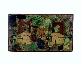 Midcentury Mexican Mayan BOX - HARDSTONE and BRASS w/Vedrigris - c1960s - teak lined - Free Shipping