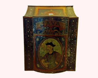 Antique TOLEWARE COFFEE BIN Canister - 1800s - for Java - Very Rare - Free Shipping