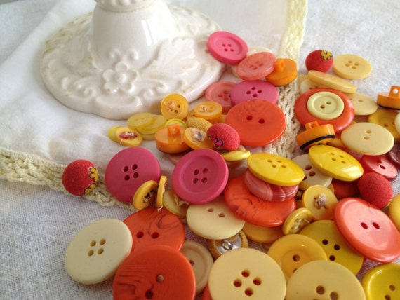 Vintage Candle holder, Hankie and Button lot Spring Yellow Orange White Inspiration kit