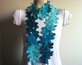 Womens Crochet Flower SCARF, Crochet Flower Neck Warmer Scarf,Usa Seller