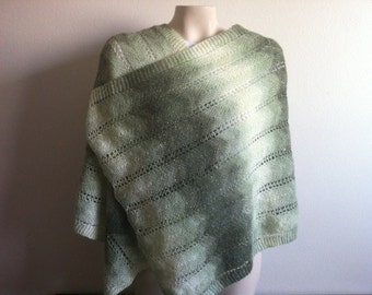 Women Knit Lace Shawls, Knitting Extra Long And Wide Women Scarf Shawl In Green And Cream