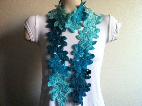 Womens Crochet Flower SCARF, Crochet Flower Neck Warmer Scarf,Usa Seller