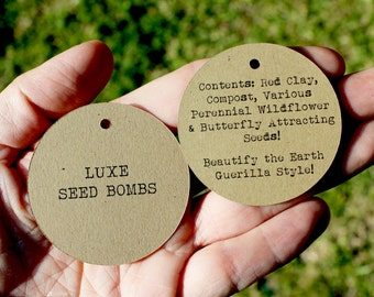 Price Tags Retail Tags Kraft Paper - Set of 50 - 2 inch Circle Double Sided - Personalized with Product Details