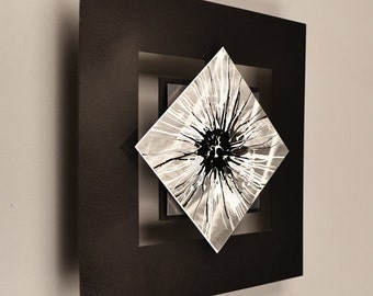 Modern Abstract Metal Wall Sculpture Art Painting Home Decor Contemporary Black and White