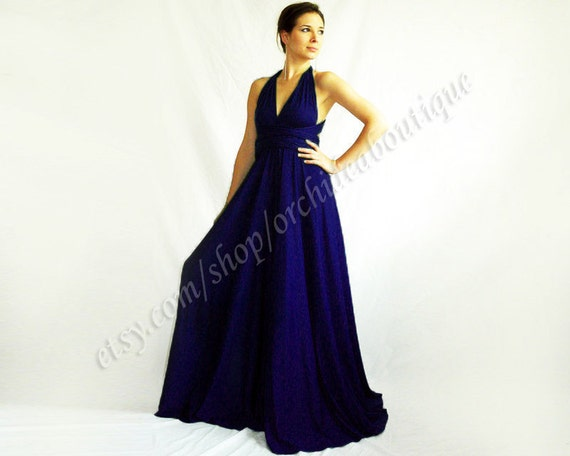 navy bridesmaid dress Infinity  Evening Convertible Wrap Chameleon Maxi Dress Navy Blue maternity plus size
