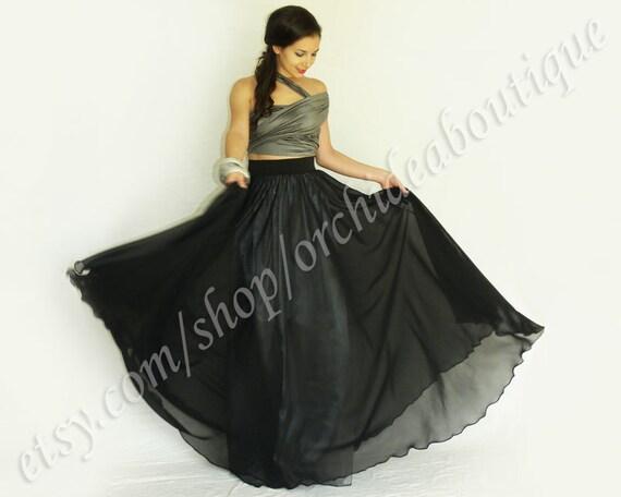 Maxi skirt black chiffon with satin lining