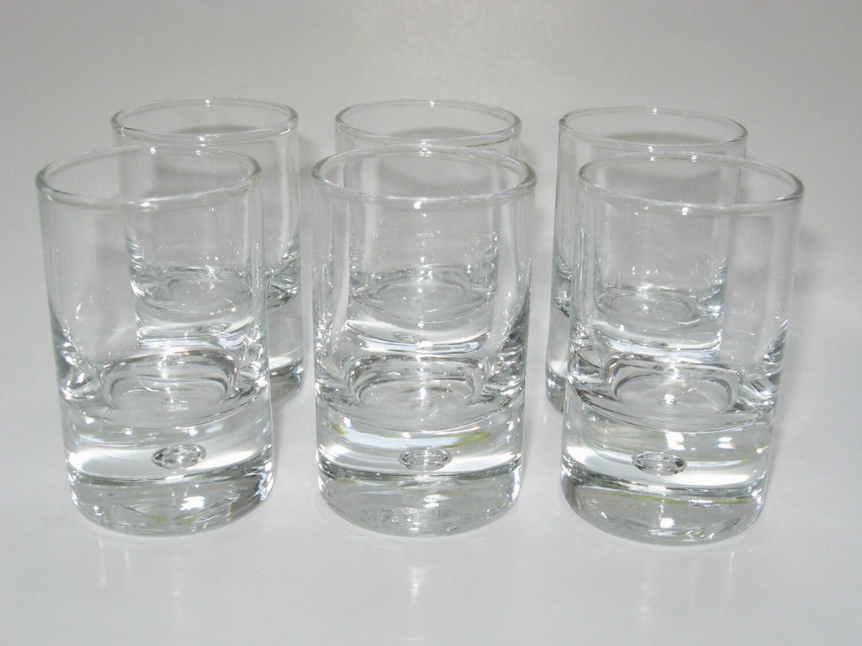Set 6 Crystal Shot Whiskey Cordial Glasses W Bubble Base