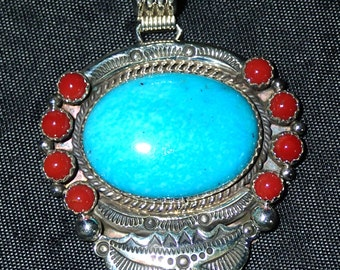 Southwestern Turquoise Coral Sterling Silver Pendant