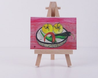 Chili Pepper ACEO mini chili painting mini art print of original painting miniature e painting
