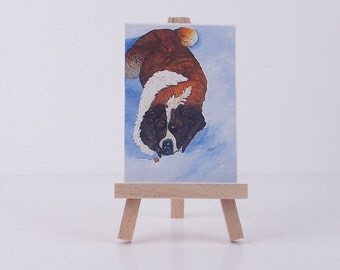 Dog ACEO mini art print of original painting  miniature painting St. Bernard