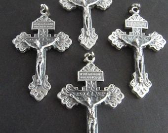 Beautiful Large Silver Italian Pardon Crucifixes - set of 4